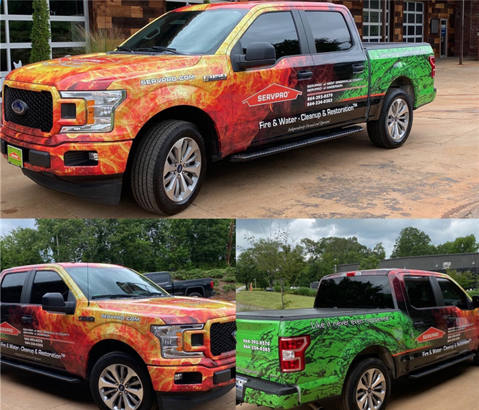 3 pictures of a SERVPRO branded truck with flames and water on it