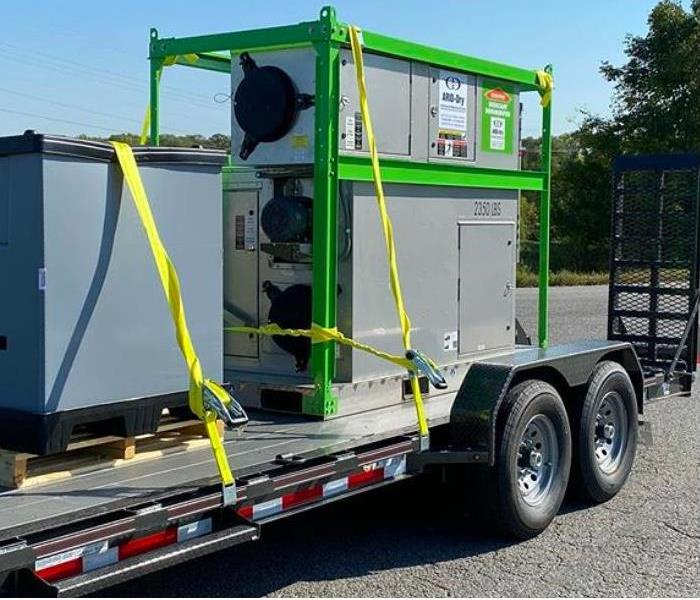 Commercial grade desiccant dehumidifier on the back of a trailer