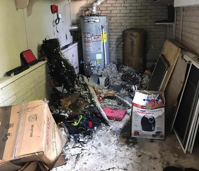 Garage that shows damage from an electrical fire